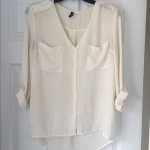 H&M Sheer Button Down Dressy Top